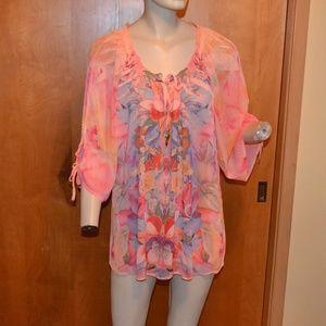 Dressbarn Pink Butterfly Peasant Boho Shirt SizeXL
